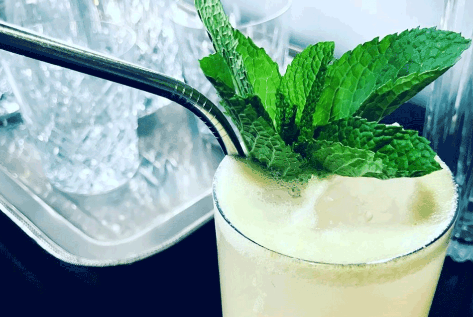 Drink with Mint Sprig