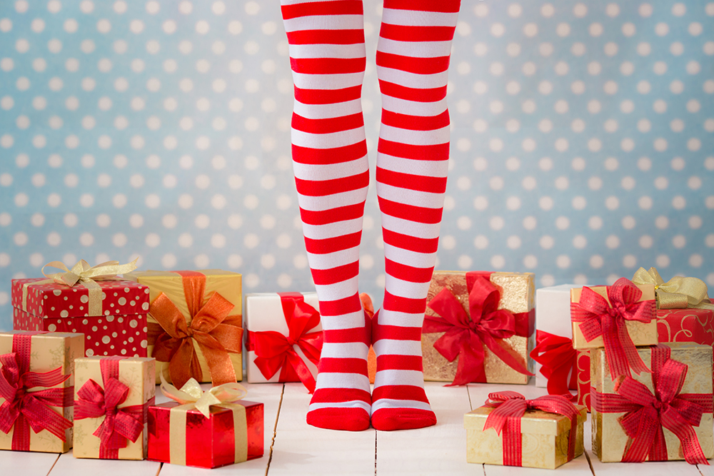 Striped socks with presents